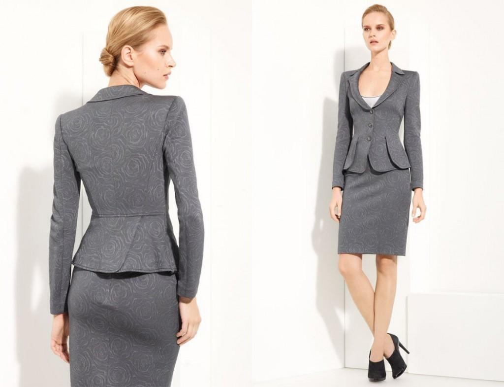 Armani Collezioni Floral Jacquard Jersey Knit Skirt Suit