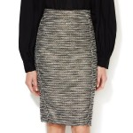 Monique Lhuillier Metallic Tweed Pencil Skirt…